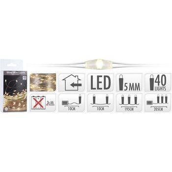 Nedis Silberdraht Beleuchtet 40LED WW mit Batterie