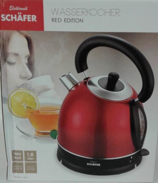 Schäfer Wasserkocher 1,8l Retro-Rot